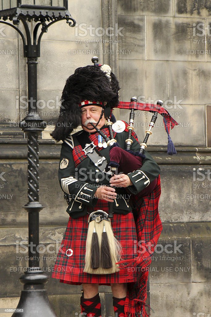 Scottish Bagpiper stock photo