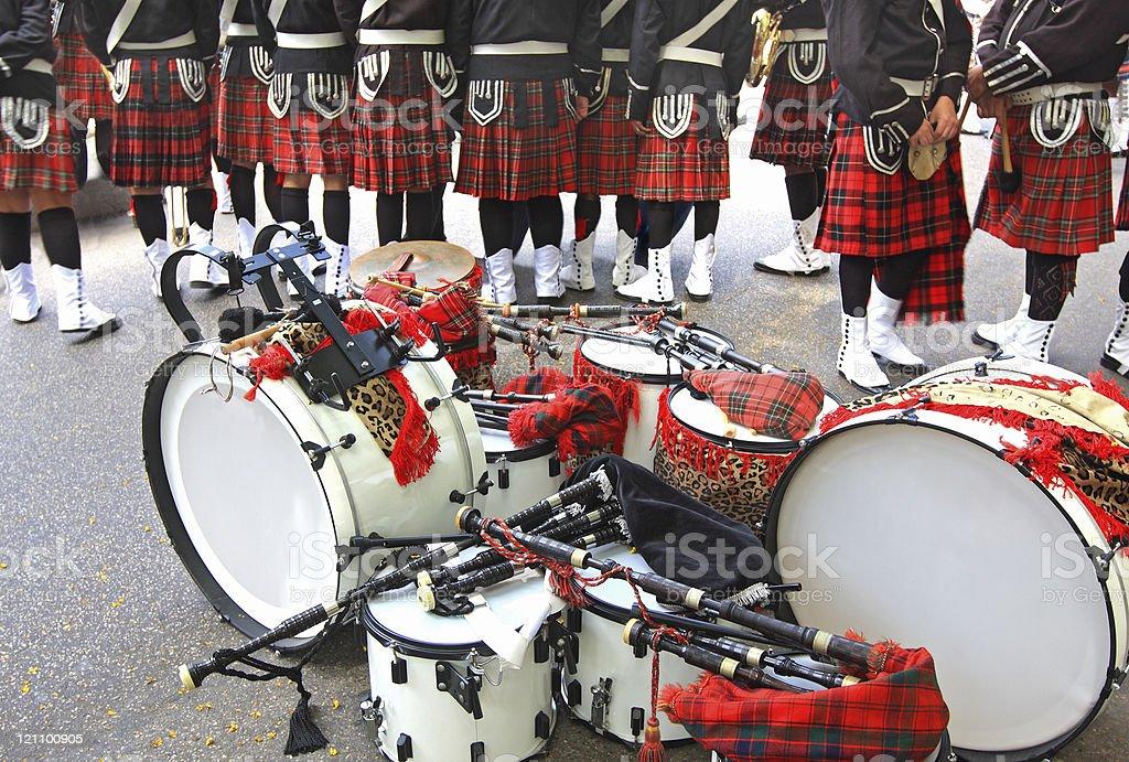 Scottish band before the show stock photo