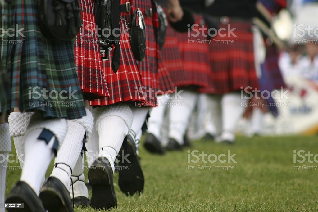 Scottish band marching stock photo