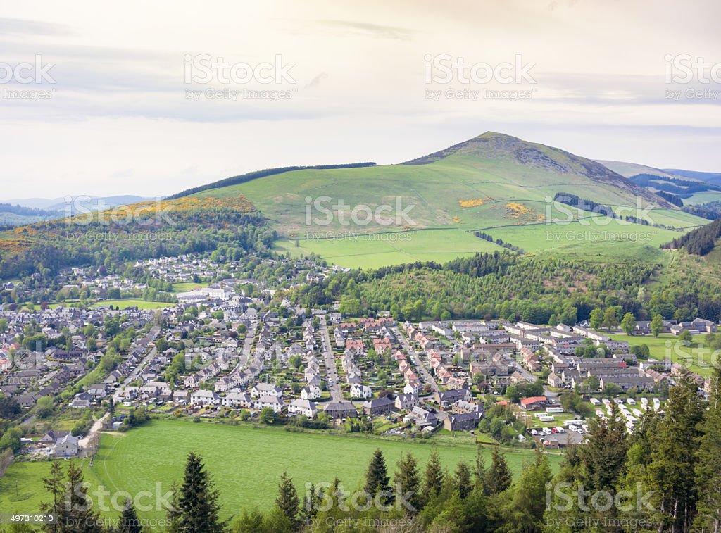Scottish Borders town of Innerleithen stock photo