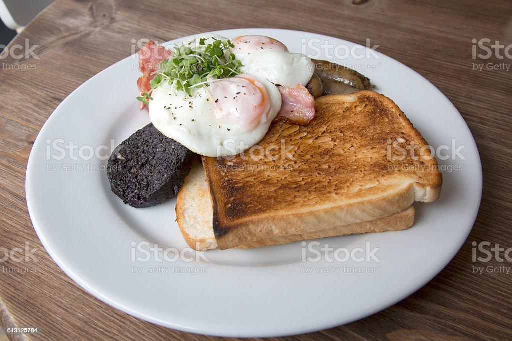 Scottish Breakfast in Cafe, Edinburgh stock photo