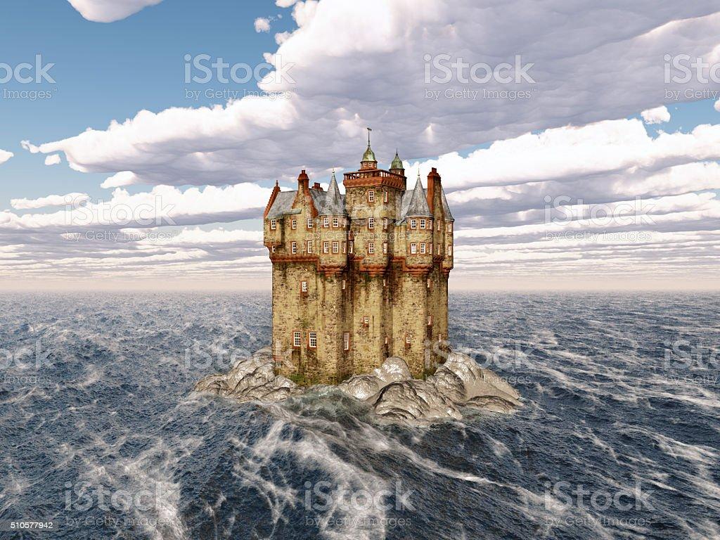 Scottish castle in the sea stock photo