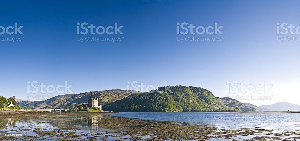 Scottish castle loch glen reflected royalty-free stock photo
