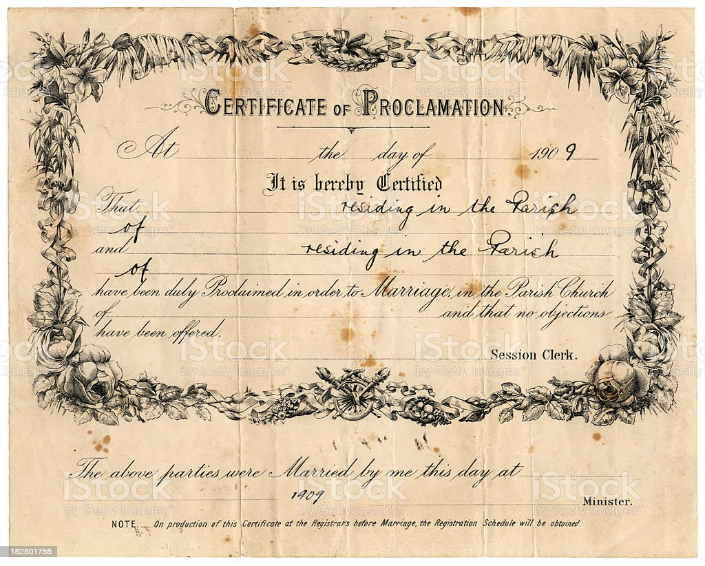 Scottish Certificate of Proclamation and Marriage, 1909 royalty-free stock photo