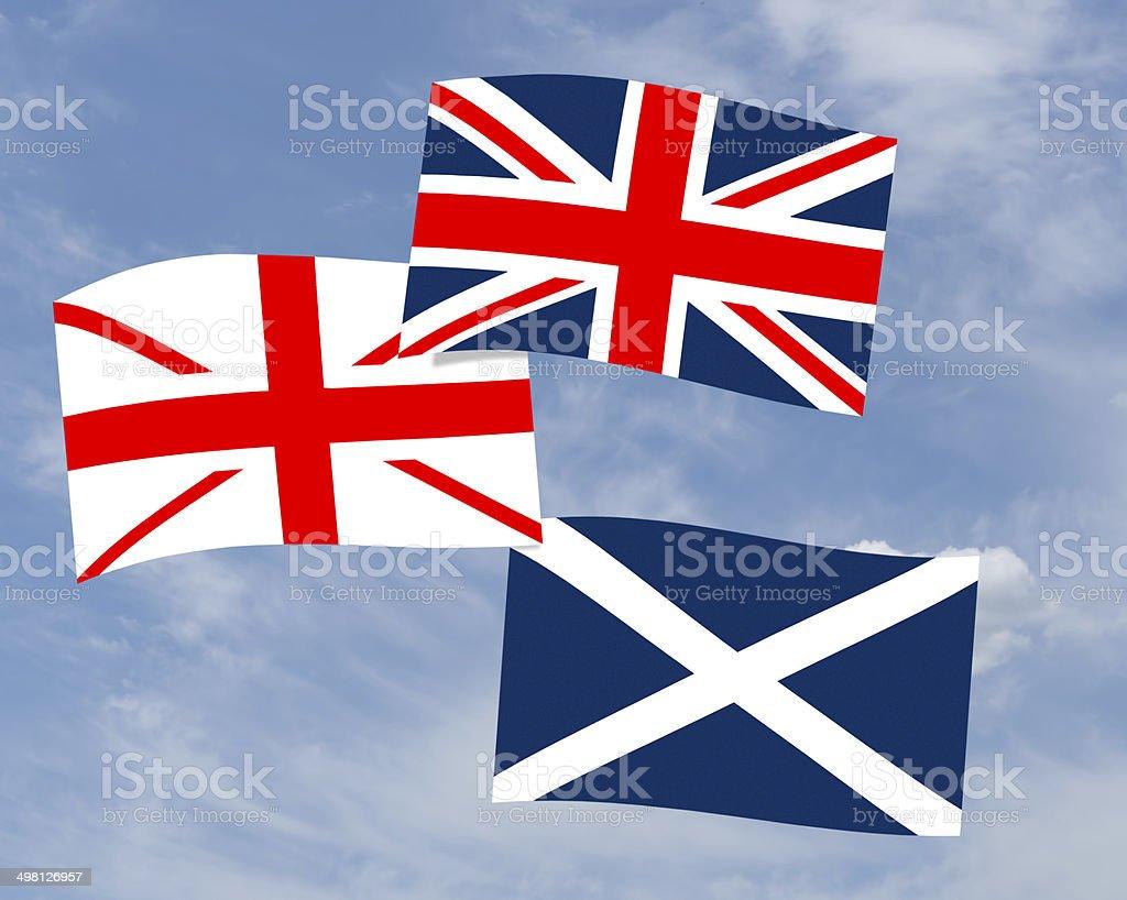 Scottish devolution flag - Union Jack, saltire etc. stock photo