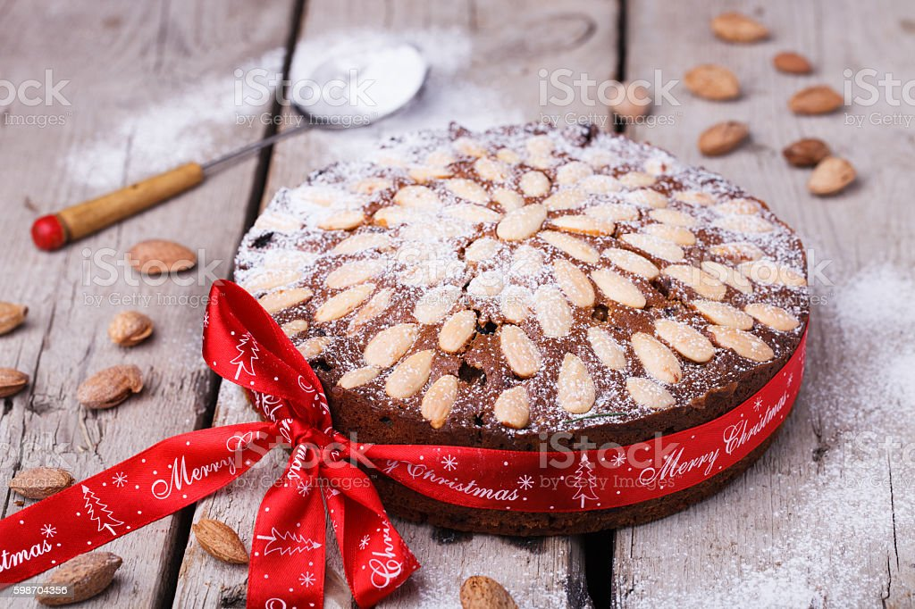 Scottish Dundee cake stock photo