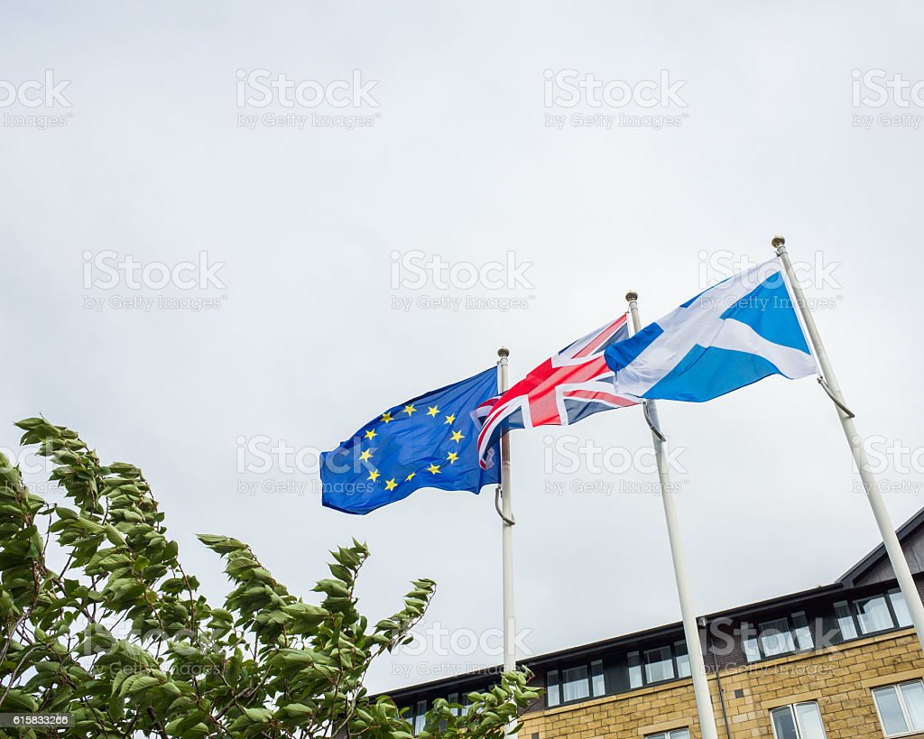 Scottish, European and UK Flags Flying Together in the Wind stock photo
