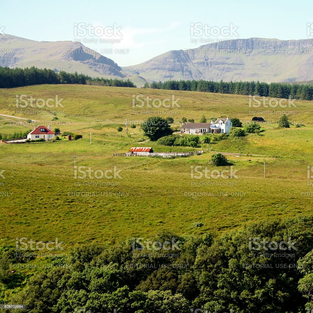 Scottish farmland in summer. Isle of Skye. stock photo