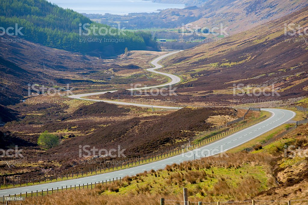 Scottish Highland Road stock photo