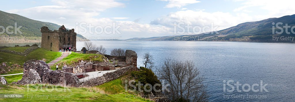 Scottish Landscape - Loch Ness Urquhart Castle Panorama stock photo