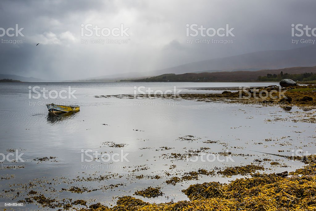 Scottish Landscape with Sea and Clouds stock photo