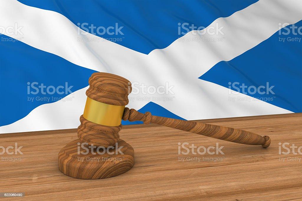 Scottish Law Concept - Flag of Scotland Behind Judge's Gavel stock photo