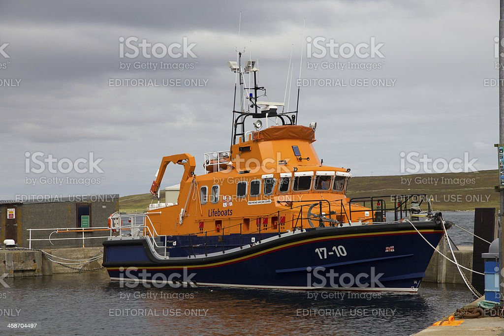 Scottish Lifeboat Moored at Lerwick on the Shetland Islands stock photo