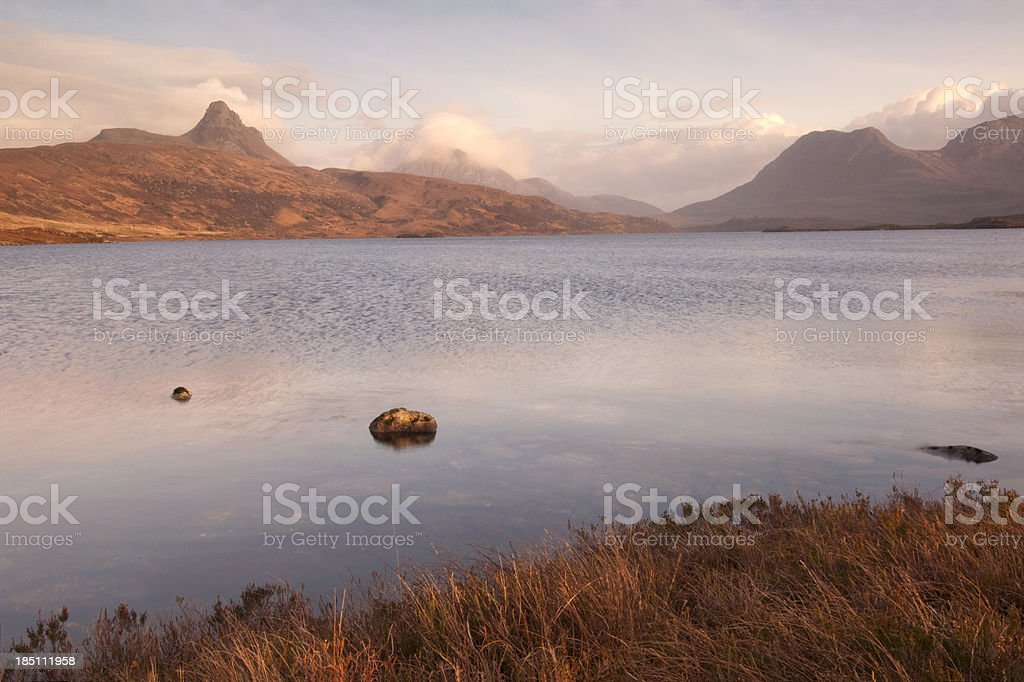 Scottish loch and highland mountains at dusk stock photo
