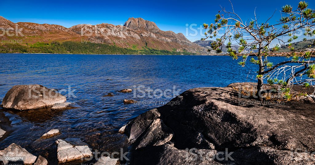 Scottish Loch and mountain Scene stock photo