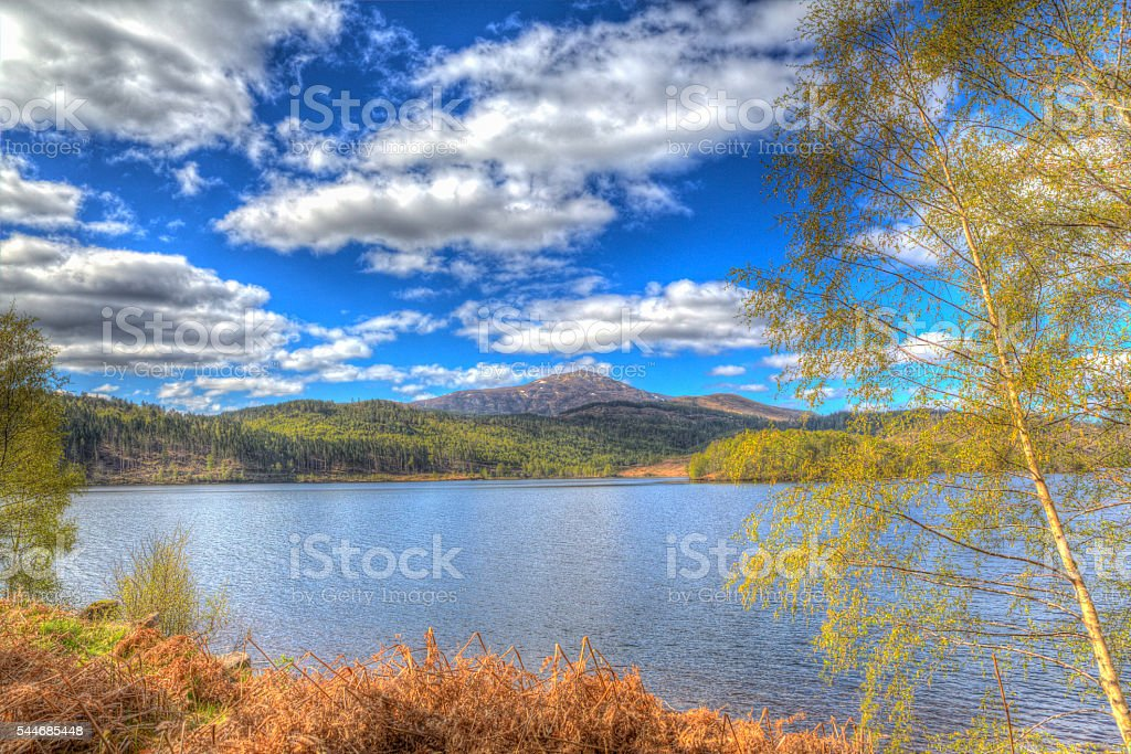 Scottish Loch Garry Scotland UK in colourful hdr stock photo