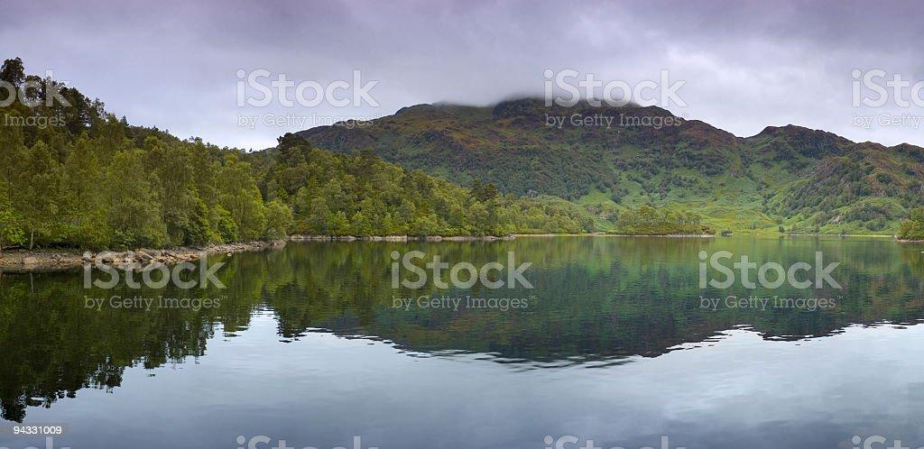 Scottish loch panorama stock photo