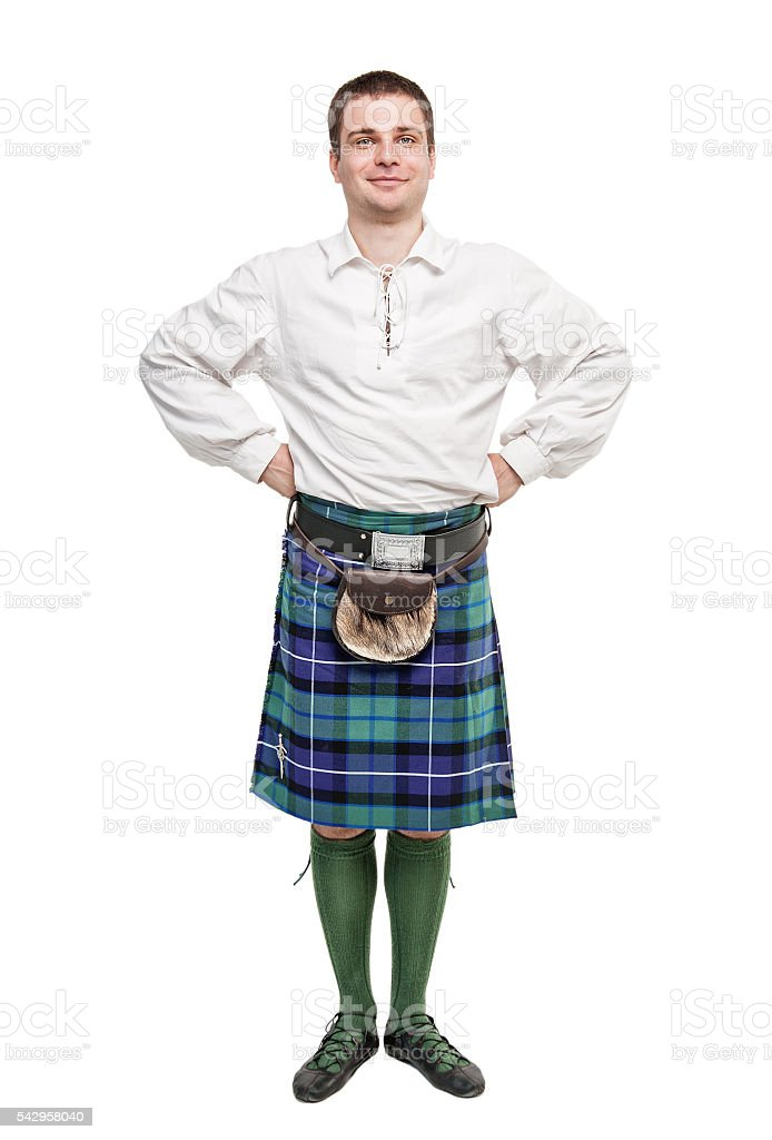 Scottish man in traditional national costume stock photo