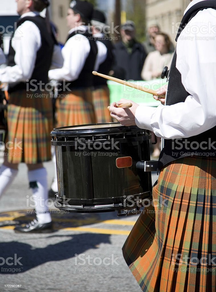 Scottish marching band drummer stock photo