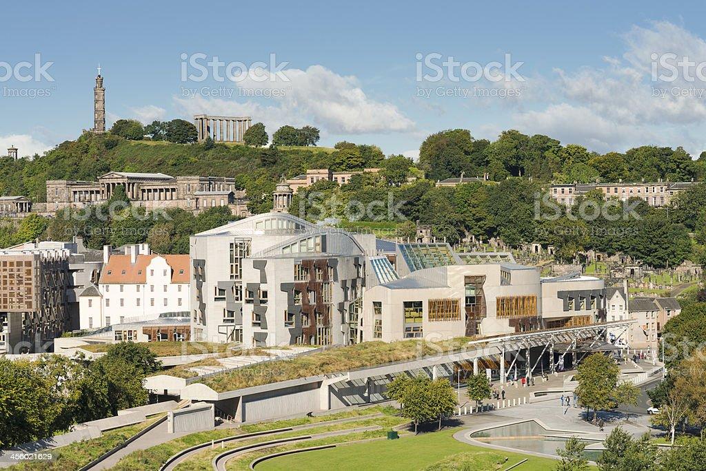 Scottish Parliament and Calton Hill in Edinburgh stock photo