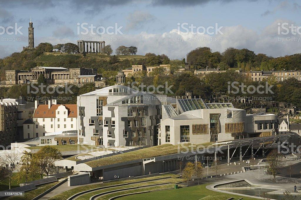 Scottish parliament building and Calton Hill, Edinburgh. stock photo