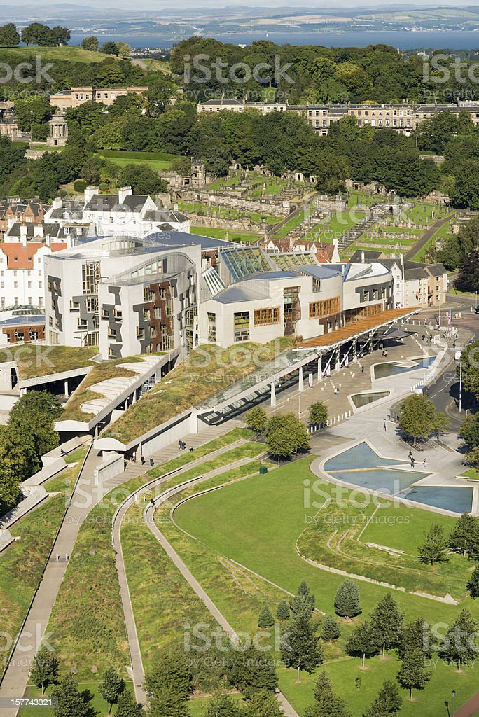 Scottish Parliament From Above stock photo