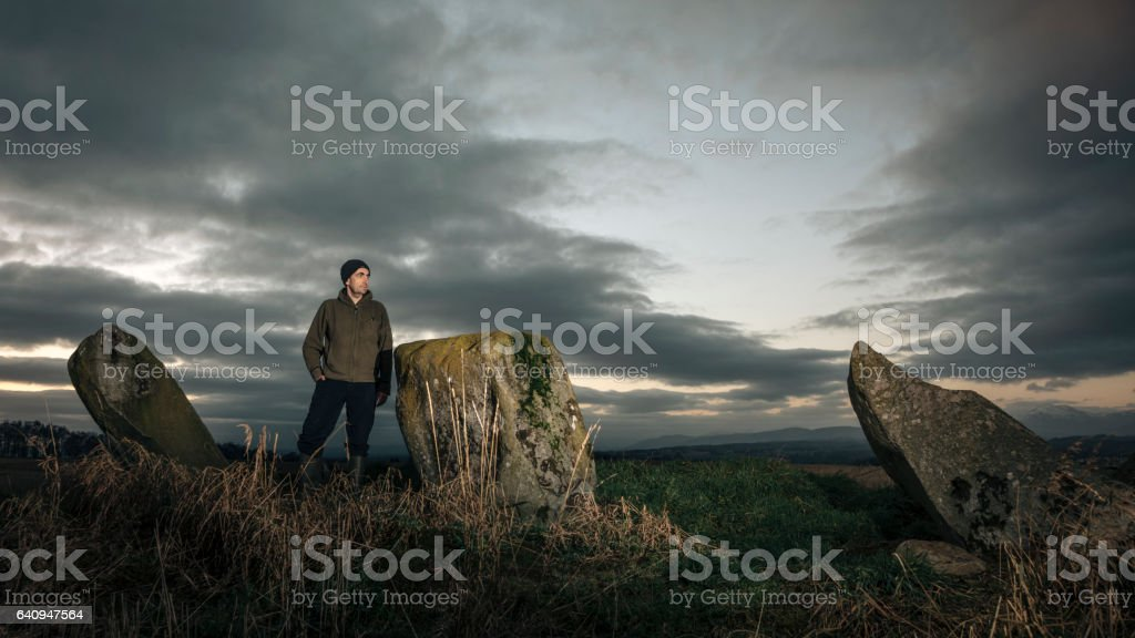 Scottish Prehistoric Standing Stones stock photo