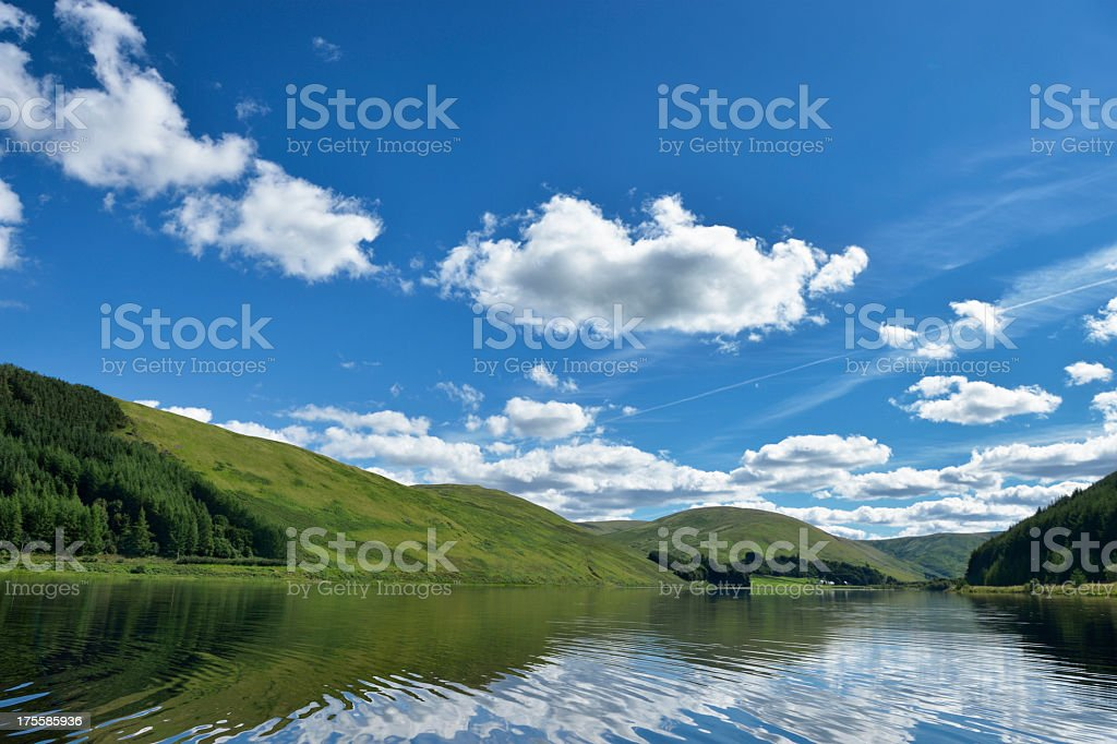 Scottish rural scene of a loch and hills stock photo