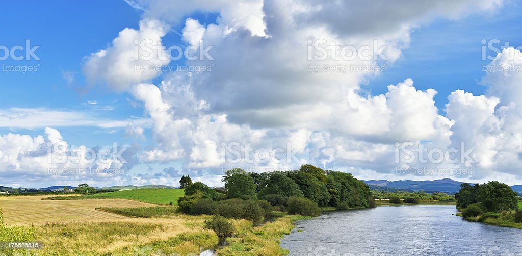 Scottish rural scene with a river and countrysdie stock photo