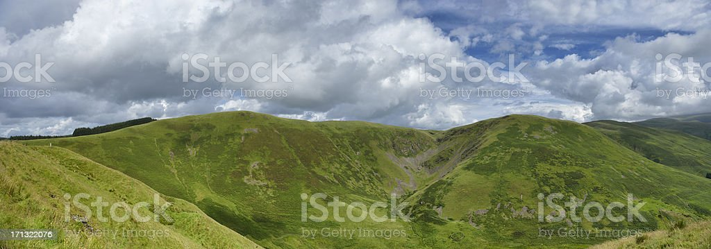Scottish rural scene with hills in the border region. stock photo