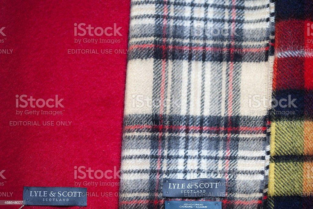 scottish scarves stock photo
