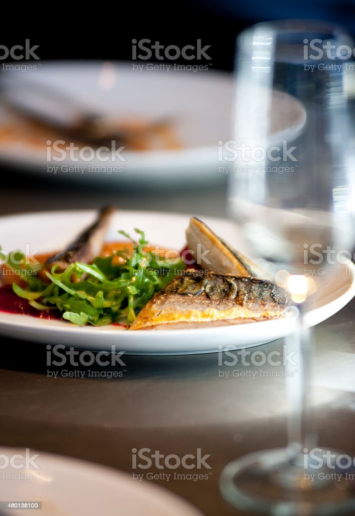 Scottish seafood on location in a fine dining establishment stock photo