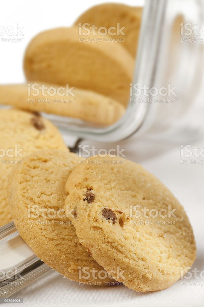 scottish shortbread cookies whit chocolate from open jar royalty-free stock photo