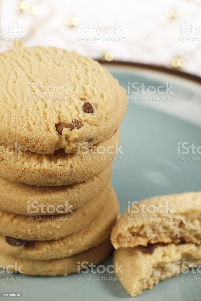 scottish shortbread cookies whit chocolate on a plate royalty-free stock photo
