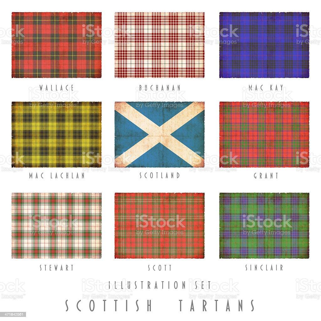 Scottish tartans in grunge design royalty-free stock photo