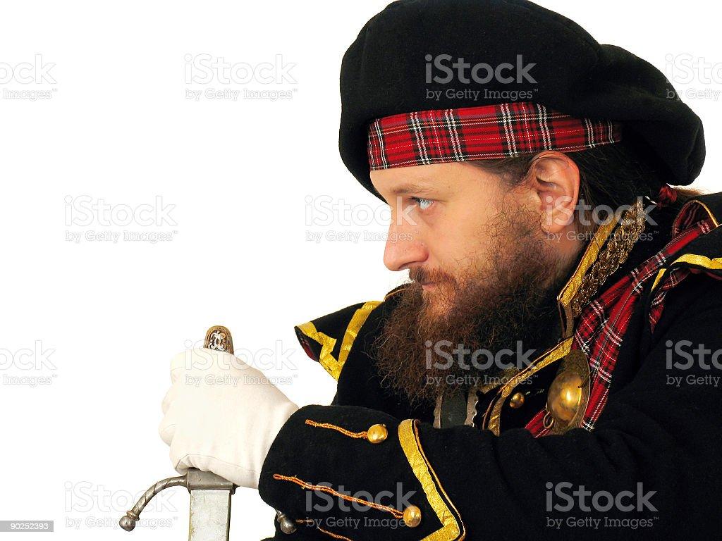 Scottish warrior with sword royalty-free stock photo