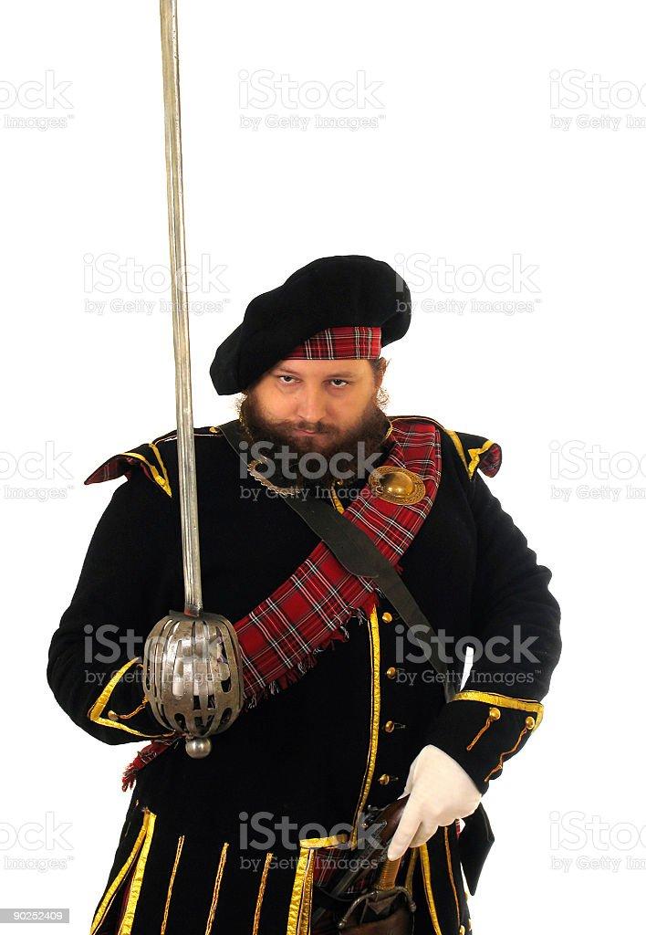 Scottish warrior with sword stock photo