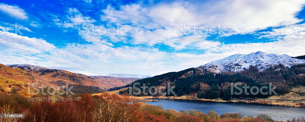 Panoramic view of a Scottish rural scene in winter stock photo