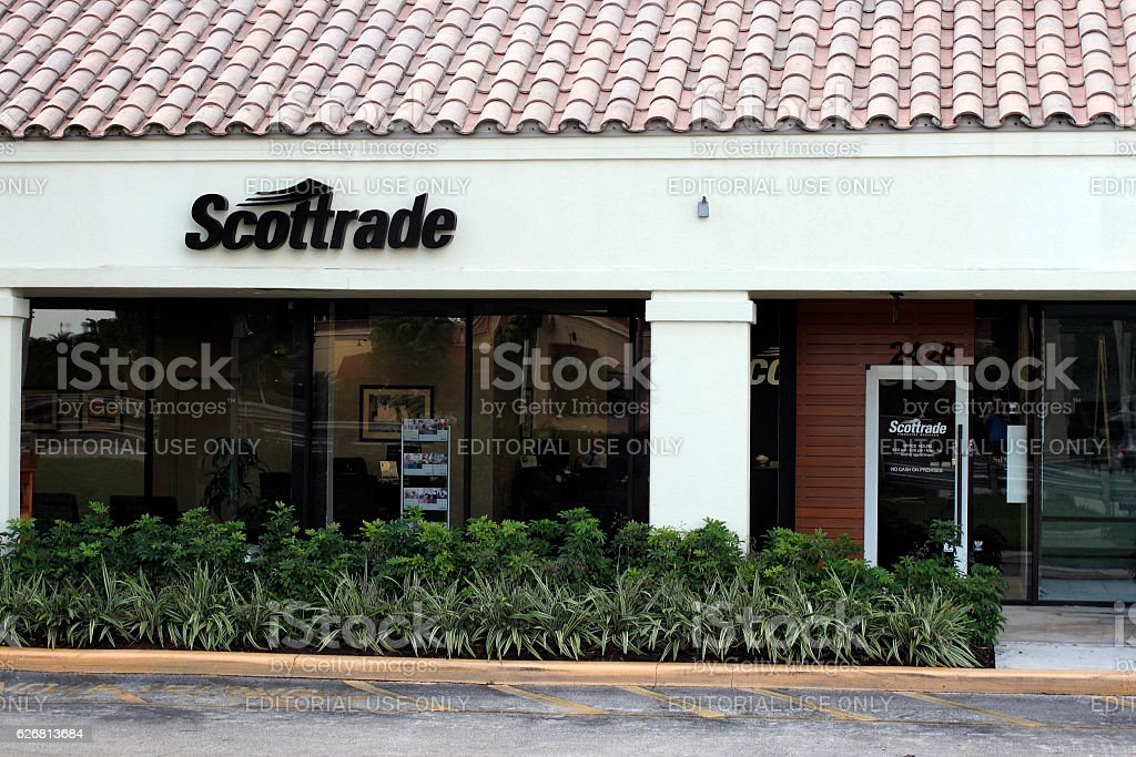 Scottrade Sign Outside in the Day stock photo