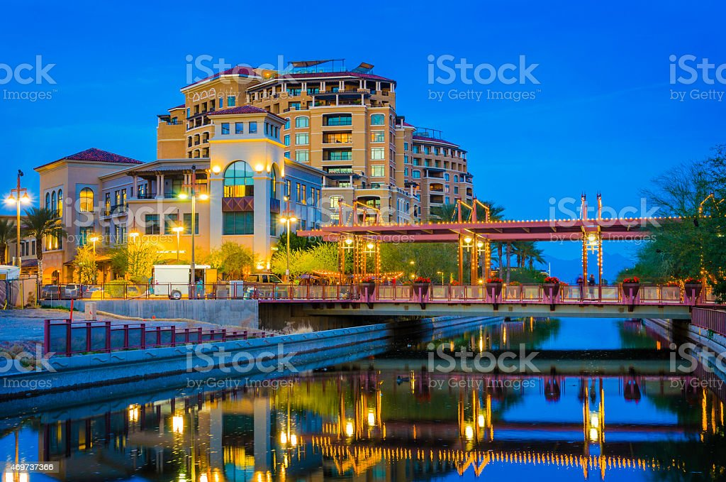 Scottsdale at dusk stock photo