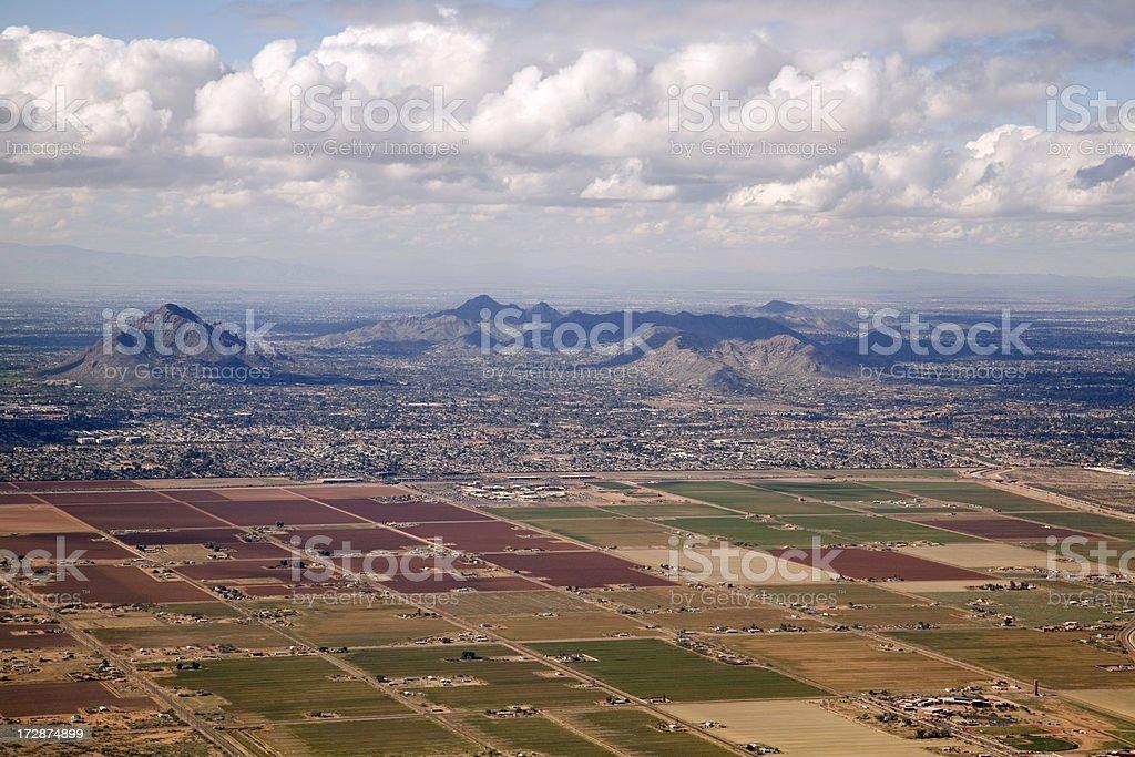 Scottsdale Farms near Phoenix Arizona, Aerial View of Desert stock photo