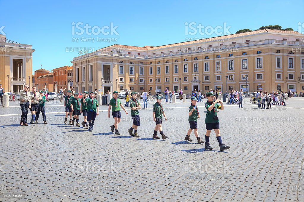 Scouts are in Vatican stock photo