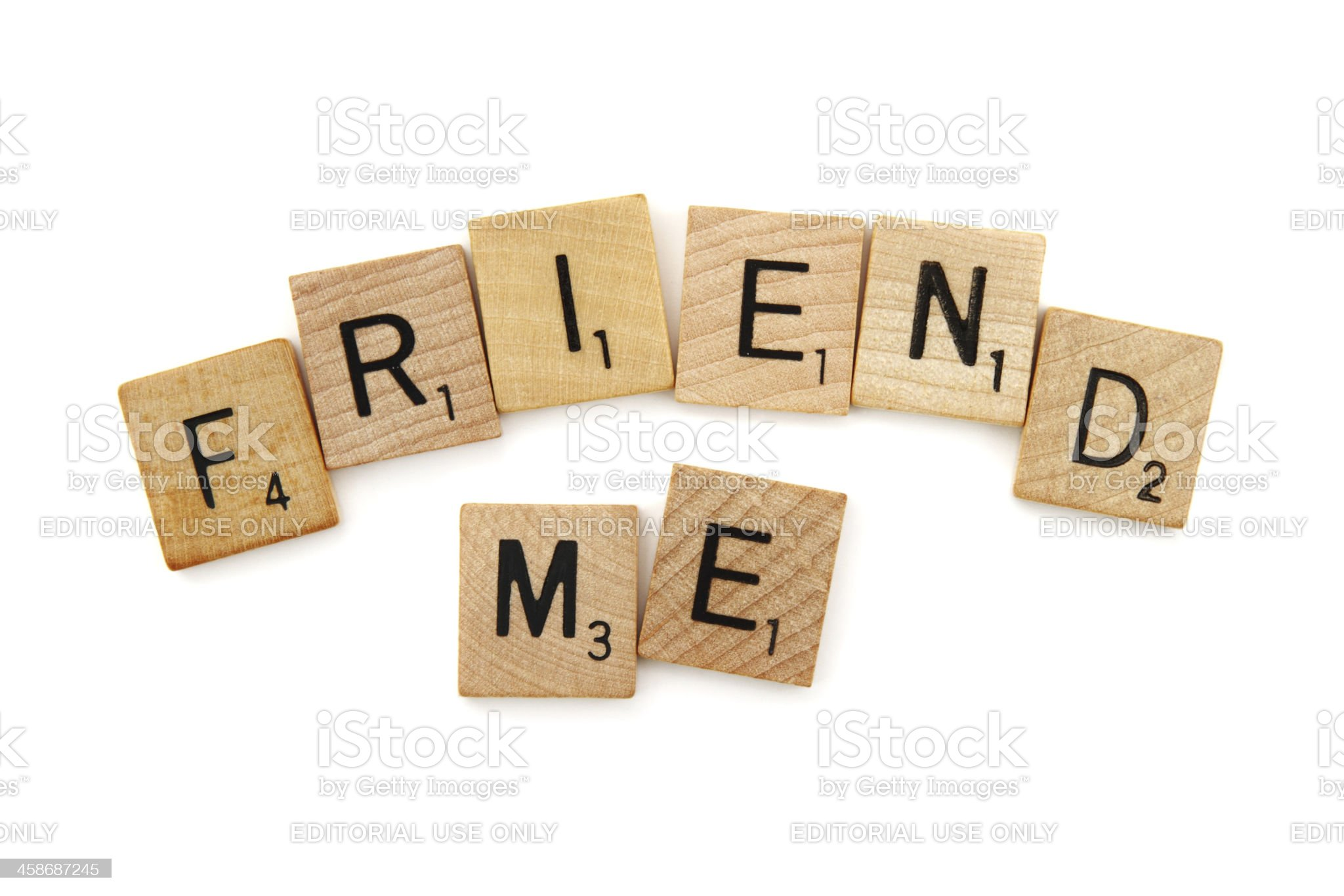 Scrabble game tiles spelling Friend Me royalty-free stock photo