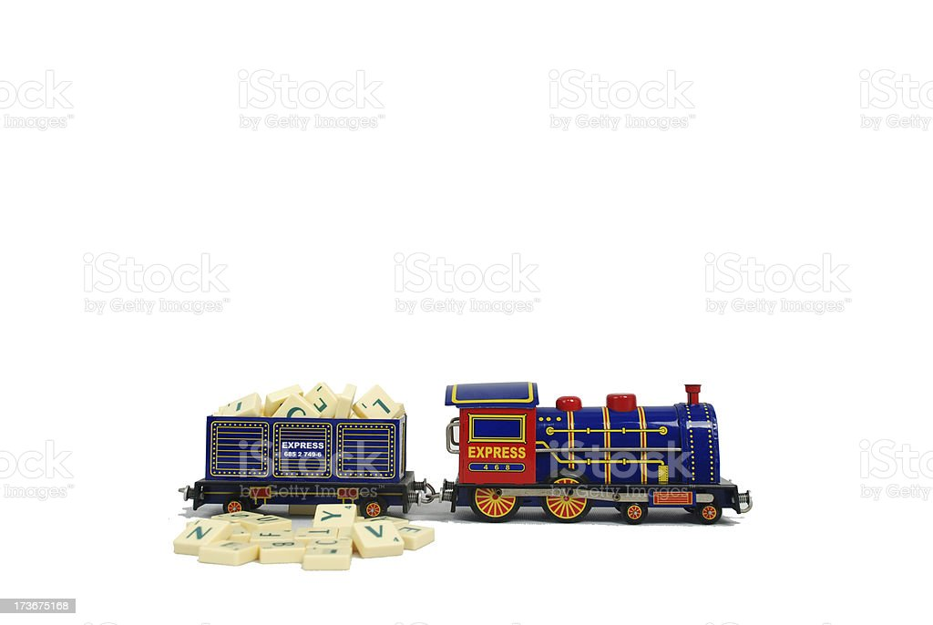 scrabble in toy of train royalty-free stock photo
