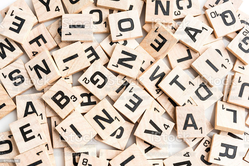 Scrabble letter tiles stock photo