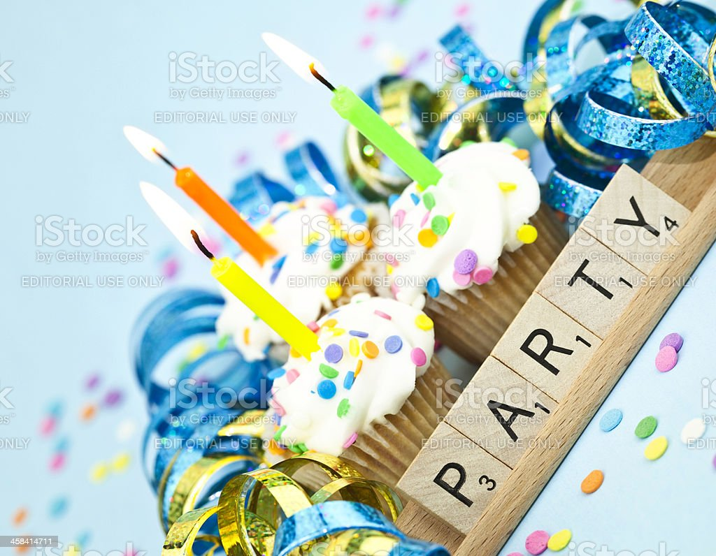 Scrabble Party Cupcakes royalty-free stock photo