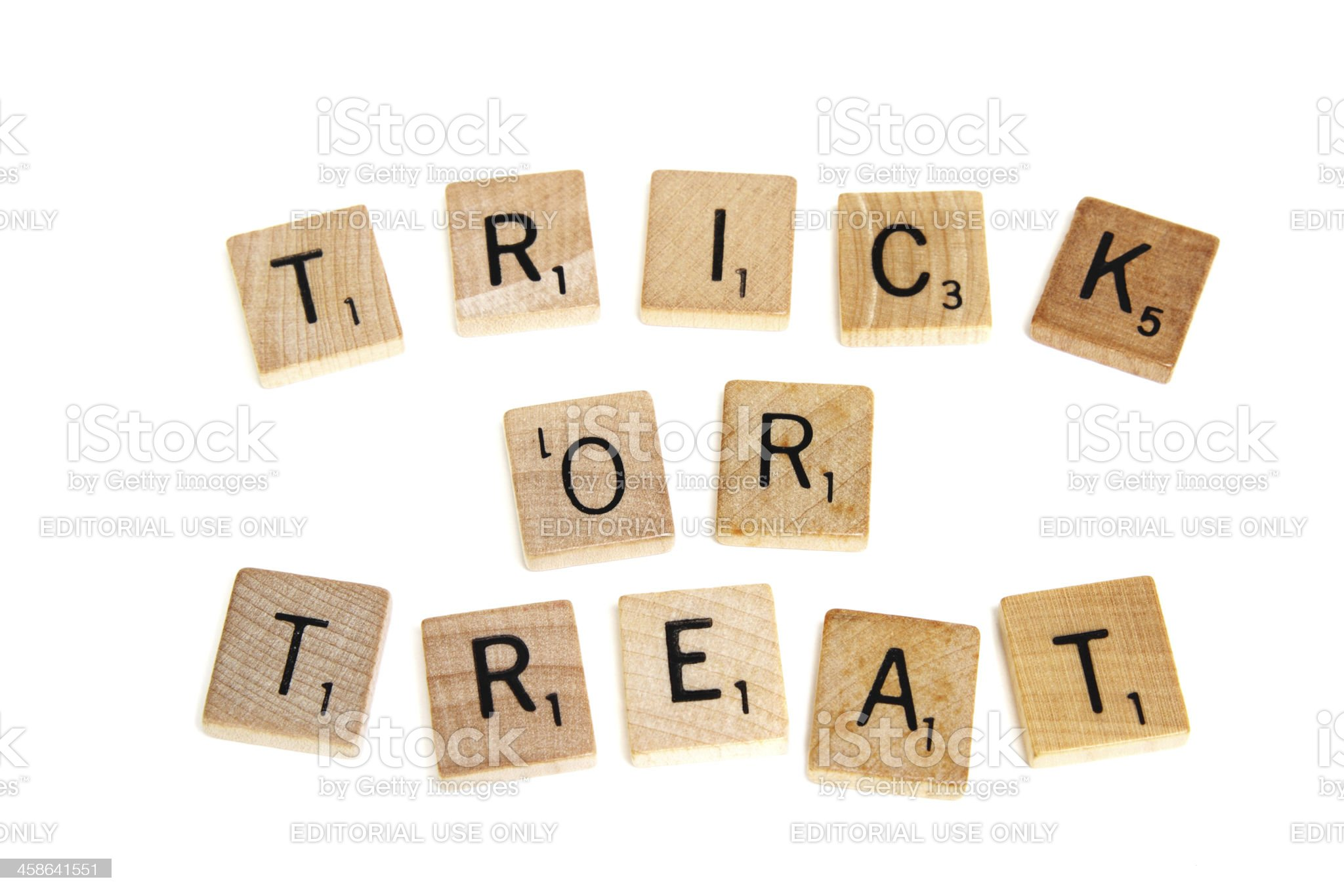 Scrabble wood game tiles spelling Trick or Treat royalty-free stock photo