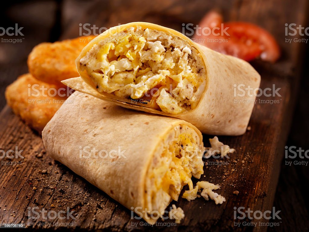 Scrambled Egg and Cheese Breakfast Wrap stock photo