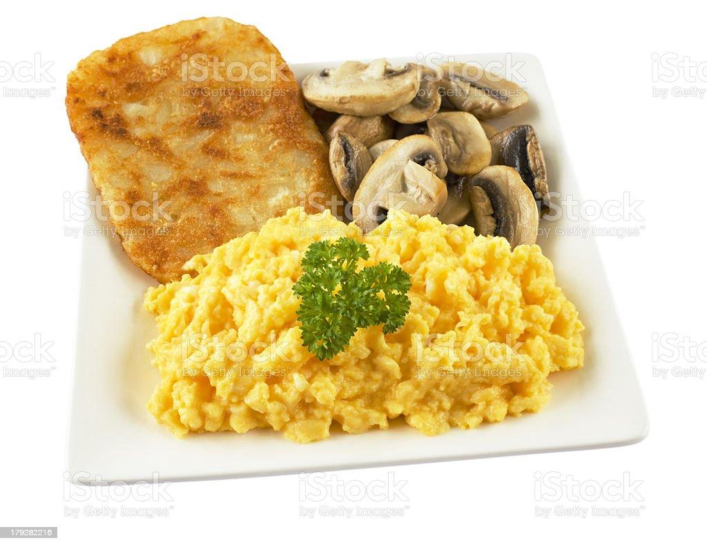 Scrambled Egg Mushrooms and Hash Brown royalty-free stock photo