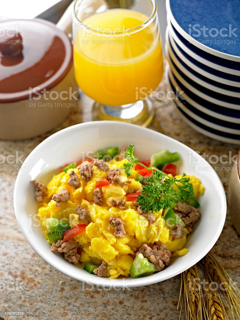 Scrambled Egg with Sausage. royalty-free stock photo